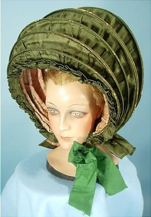 Green Silk Calash Bonnet - 18th c headwear - costume research - Made to measure costumes