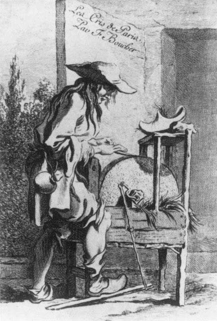 Knife Grinder - The Cries of Paris - 1737 - Richardson - HandBound Research, historical shoe research, clog images from teh 18th century, what the poor wore, Eighteenth Cenrtuy costume research, Glossary of 18th century contemporary costume terms
