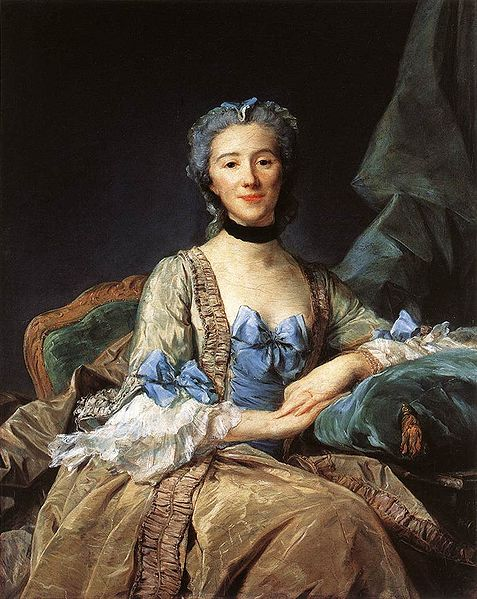 Portrait of MDM Sorquainville by Perronneau 1749 - costume in the mid 18th century, furbellows and ribbons - decoration in dress, eighteenth century costume research, details in fashion and glossary of the terms by handBound Costumes, Made to measure Historical Costumes, Bespoke replica reenactment clothin