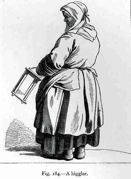 a higgler - paris street seller - HandBound Costumes - the history of the corset and stays - plebeian dress - bedgowns - stays - street sellers costume - 18th cent servants wear - Georgian Costume