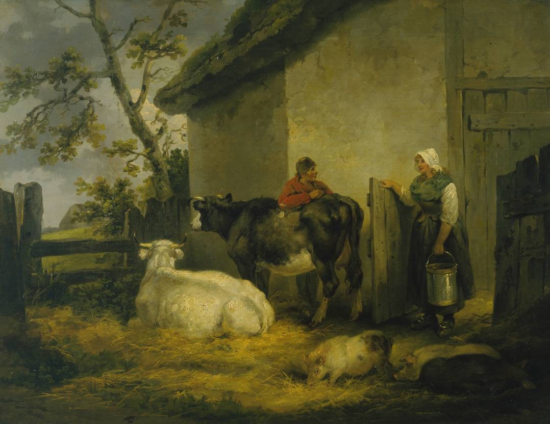 Cowherd and Milkmaid 1792 by George Morland 1763-1804 - HandBound Costumes - Eighteenth Century Garment research - Stays; who wore them - the history of the corset - 1700's working clothing - gypsy's, farmers, working peoples images from the Georgian times