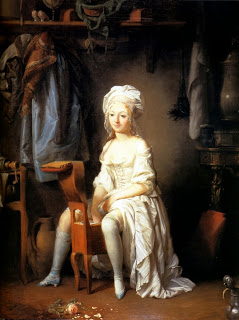 louis-leopold boilly - example of silk stays - Lady in her undress - 18th cent- HandBound - the history of the toilette - who wore 18th century stays - silk stays 1700's - Goergian Underwear - Duchess of Devonshire - Marie Antionette - Mdm Pompadour Costume - eighteenth century stays - costume research - whaleboned stays - circa 1780's - stockings - shifts - bespoke historical costumes