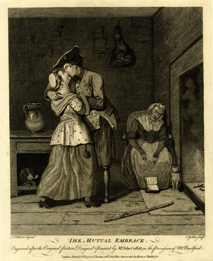 mutual embrace - 1774 - short calico gown - HandBound Costumes - Bibliography - Corset and Crinolines - the history of the corset - bedgowns - Poor peoples clothing - what the normal folk wear - Lower class dress - a study on lower class costume in the eighteenth century - engravings from lower distinctions - printed cottons - 1700's full length skirts - shawls and neckerchiefs