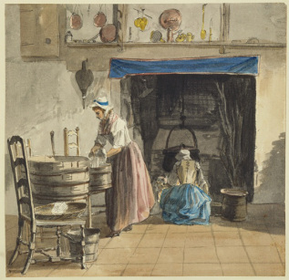 paul sandby 1765 - at Sandpit gate - HandBound Costumes - Eighteenth Century Costume Research and Glossary and Bibliography - 1700's clothing - What working people wore - did working women in the 1700's wear stays?