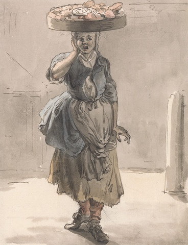 Paul Sandby - Eighteenth Century Costume - Plebian costume - Women's Georgian Costume - street Sellers and what they wore - history of  Aprons - Cries of London - 1700's dress - history of English costume