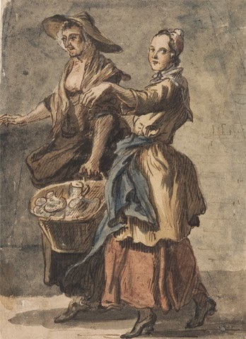 paul sandby - c.,1759 - two women holding baskets - HandBound Costumes - Working class costume in the eighteenth century - historical costume - bedgown images - Aprons - Plebian Clothing - Made to measure historical costume - period clothing - Georgian dress - 17000's womens costume-