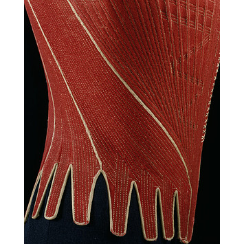 red wool stays - V&A - 1770-80 - Who wore Stays - eighteenth century costume -Corset History - HandBound Costume