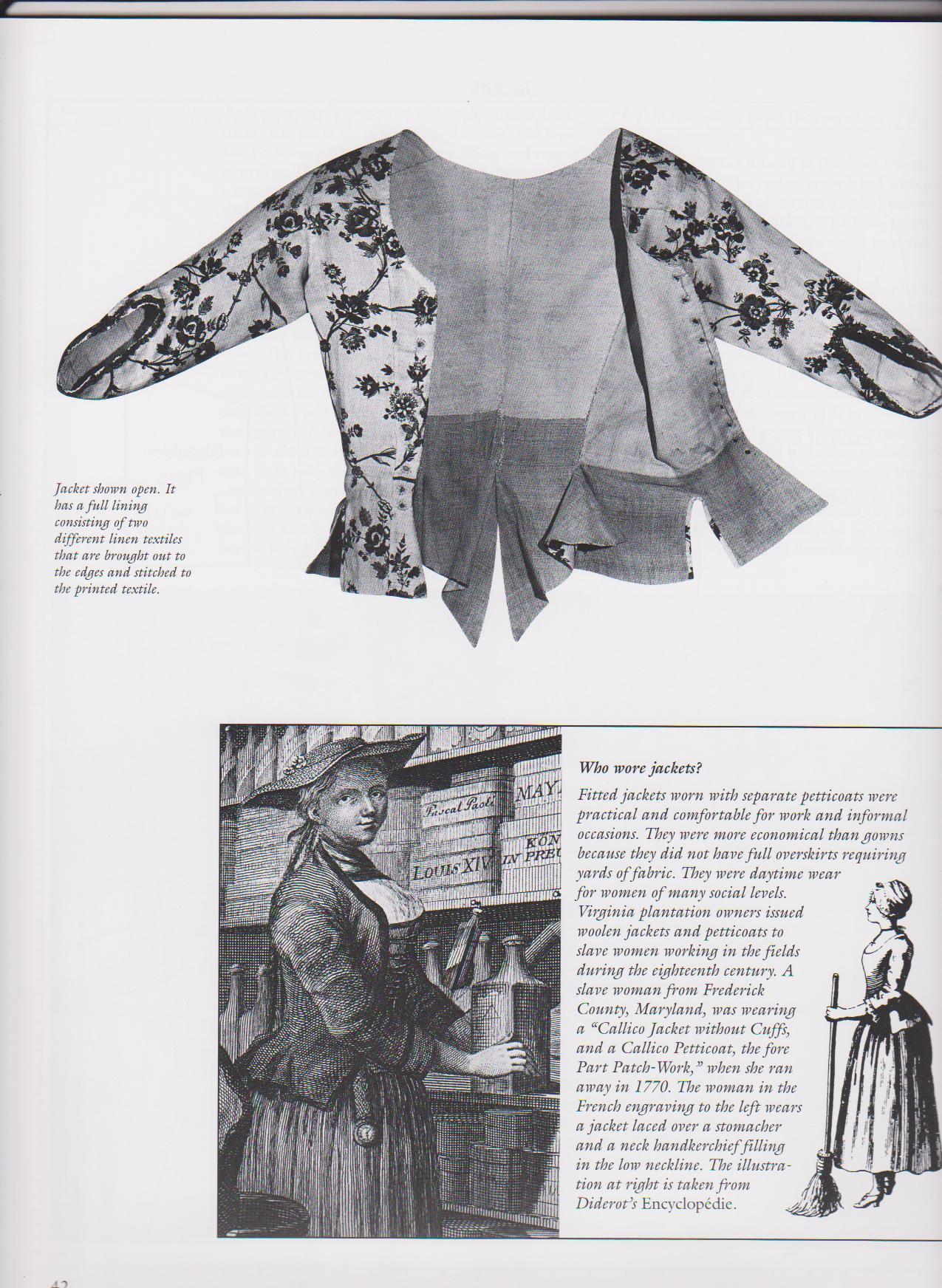 Costume Close Up - L.Baumgarten and J.Watson - Inner Page - Eighteenth Century Costume Research -Pet-en-lair - Caraco - Georgian Short Jacket - 18th Cent original clothing - Linen and floral linen - Undress - Day wear - HandBound Bibliography