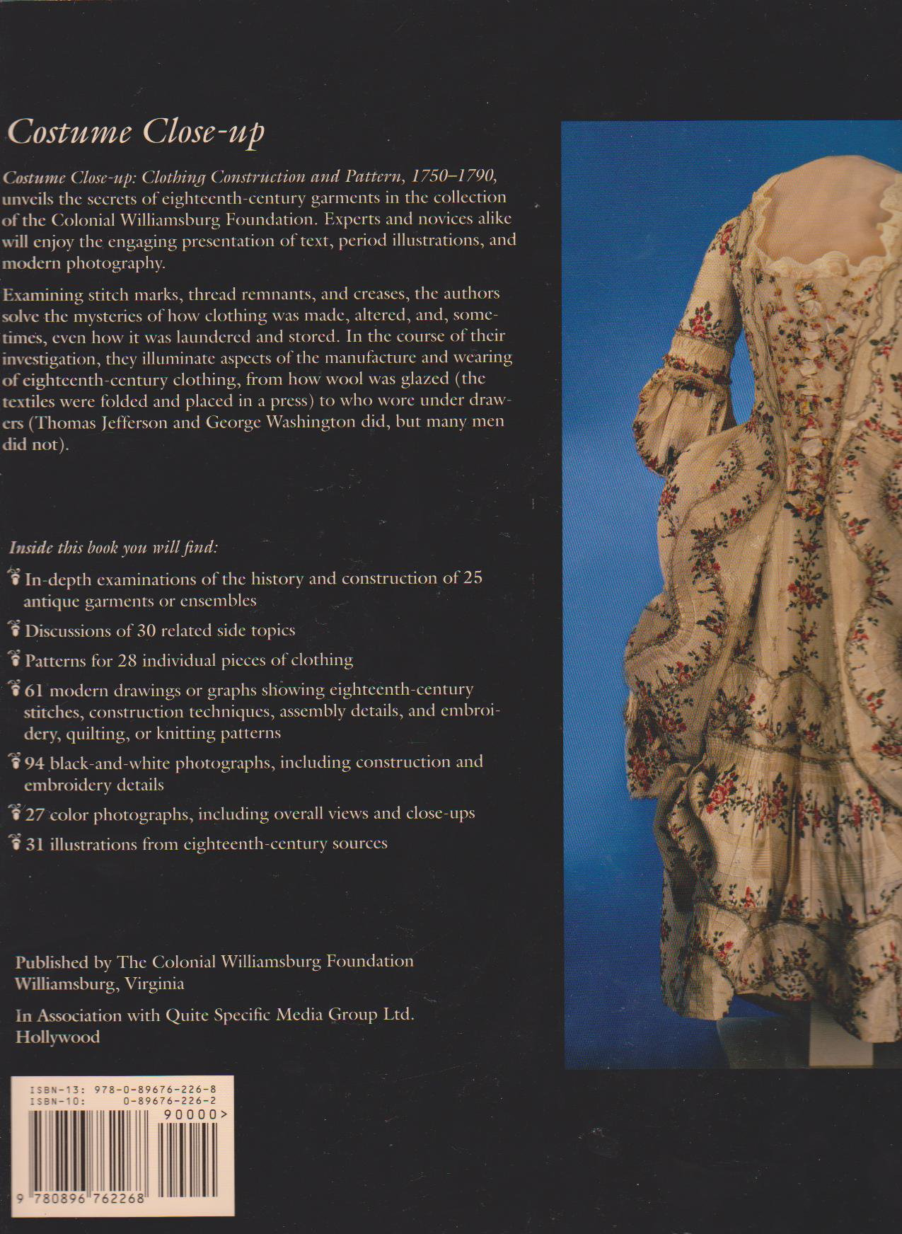 Costume Close up - L.Baumgarten and J.Watson - Back Page - History of Fashion Images - Costume Research for the Eighteenth Century - Close-up Images for the Eighteenth Century Researcher - Georgian Clothing - Photo's of Original Garments -HandBound Bibliography