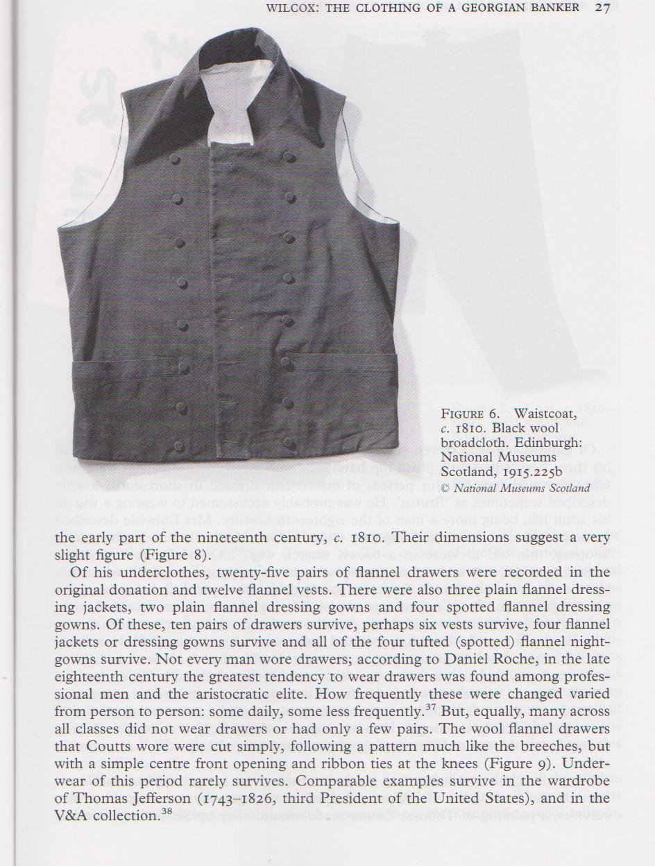 the Clothing of a Georgian Banker - David Wilcox - waistcoat - National Museums of Scotland - Costume Society Magazine - Costume Journal - Researching Eighteenth Century Costume - Georgian Clothing - Middle Class Clothing - Military uniforms - 18th Cent Costume - HandBound Costumes Customers Library
