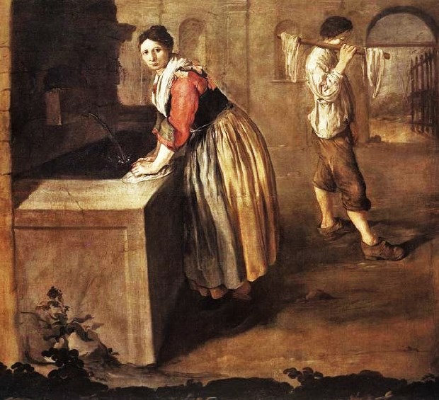 1736 Giacomo Ceruti The Laundress - HandBound Research on Stays, were stays worn by working women? discussion on the history of stays and what kind of class wore them, re-enactment facts, handmade made to measure and bespoke fully boned stays,