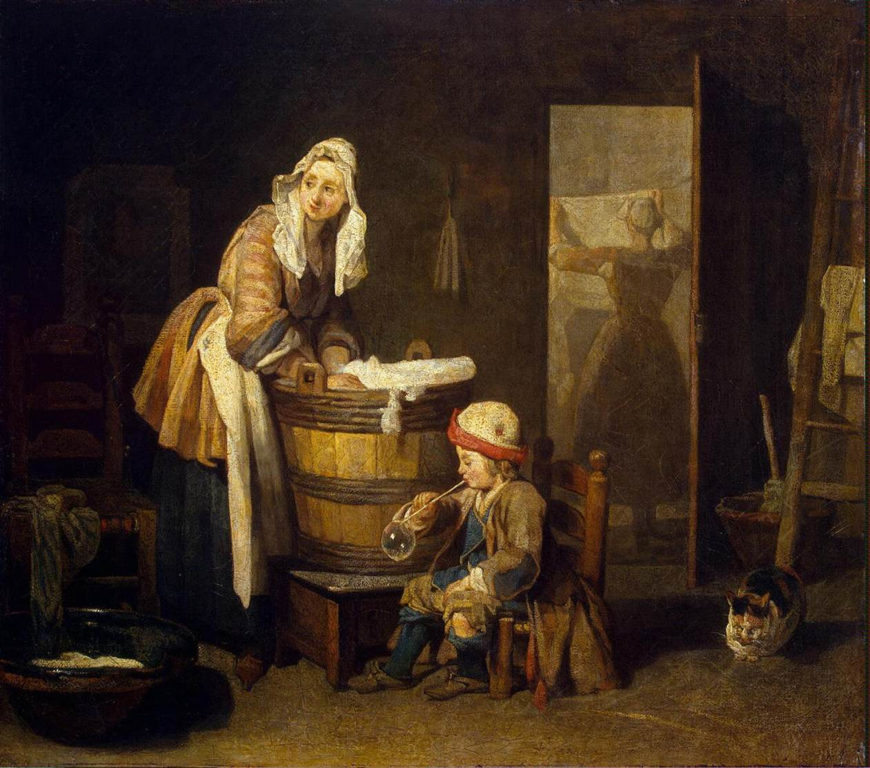 laundress - chardin - 1730 - HandBound - Eighteenth Century historical Costume - Researching the rococo - Georgian everyday wear - Historcial 1700's, 18th cent clothin - Plebiean and working womens' costume - did women in the 1700's wear stays