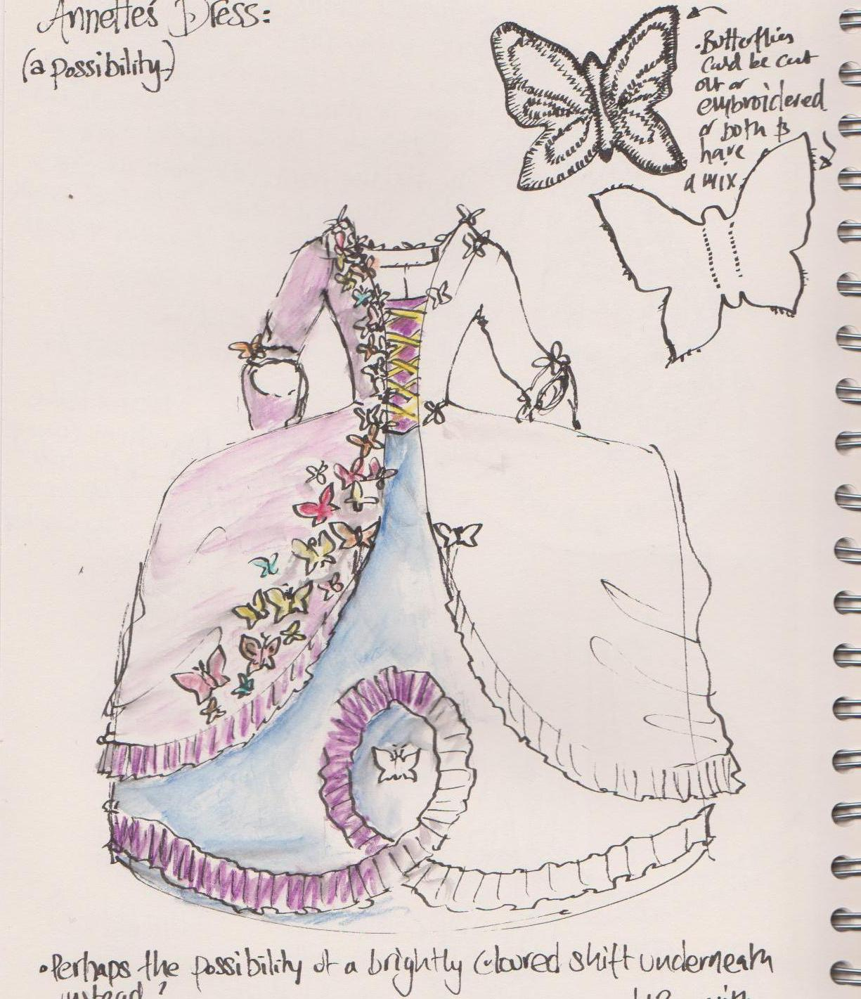 Carnival Costume Sketch by HandBound Costumes, hand made custom historically inspired costumes, bespoke wedding dresses, made to measure historical clothing and period costume, replica clothing from the paintings portraits museums and artifacts,