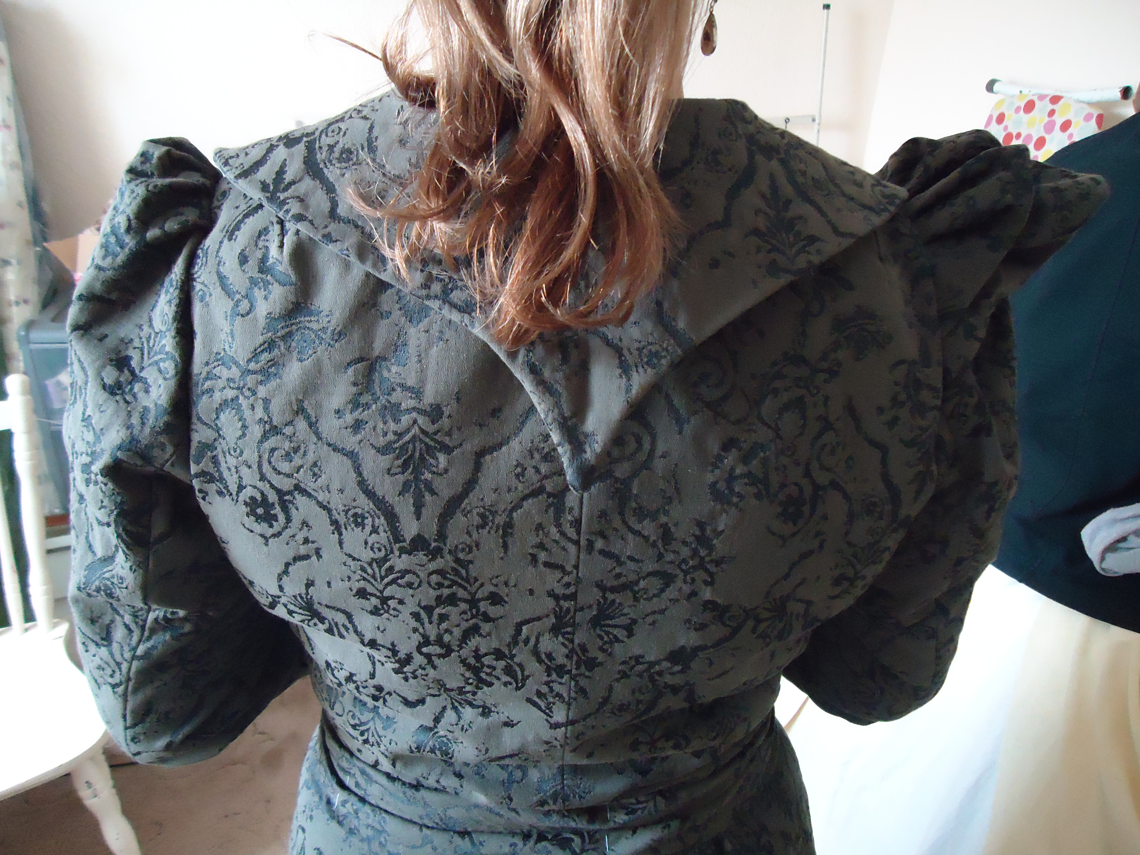 Late Victorian Suit by HandBound Costumes - Fitting Back View,  Replica Costumes, Made to measure Historical Costumes, Reproduction Period Clothing and costumes, copying garments dresses cloaks gowns from paintings or costumes in museums, victorian costume, edwardian costume, bespoke period costume, civil war made-to-measure dresses,