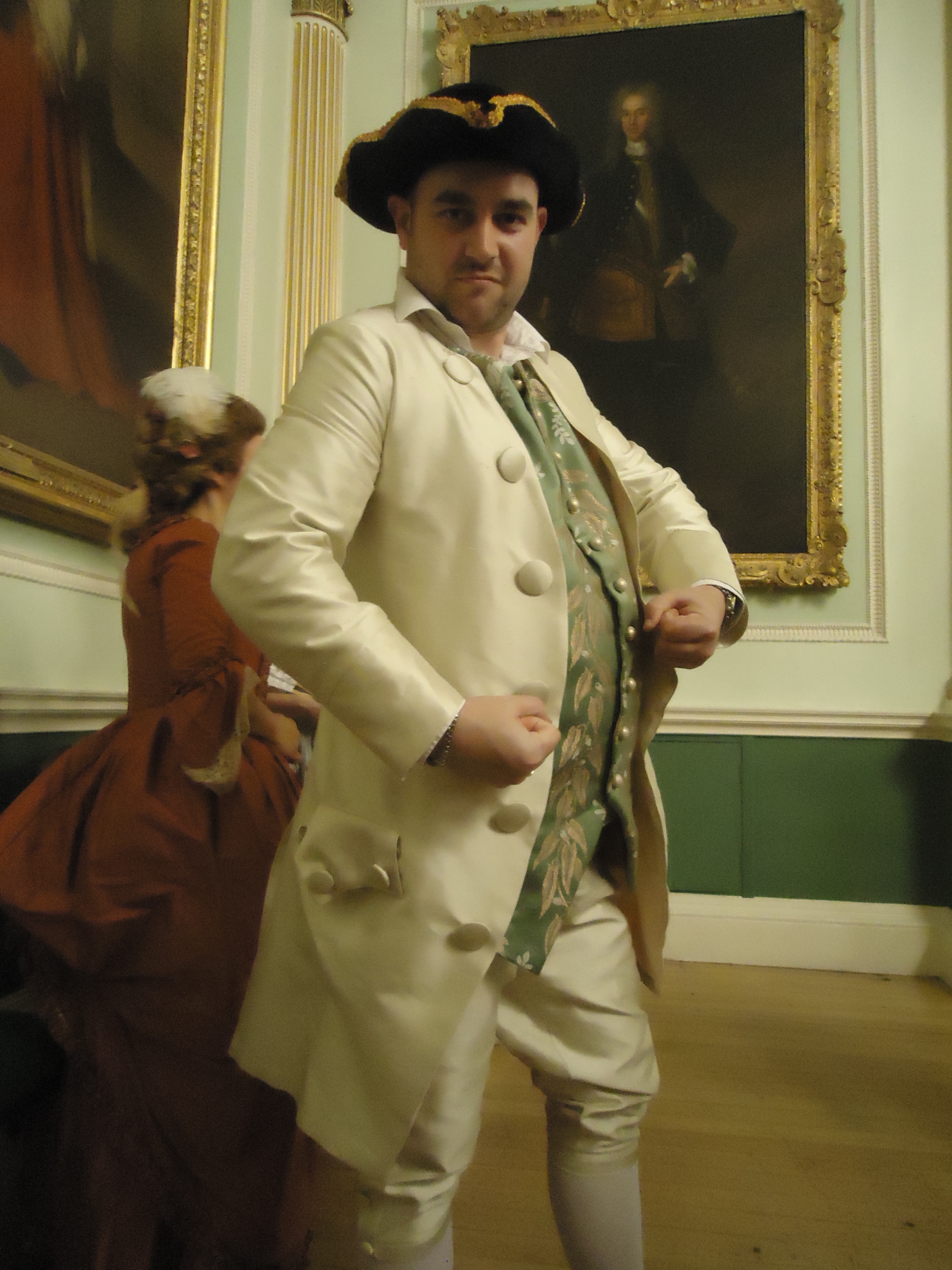 hand made eighteenth century mens costume by HandBound Costumes, replica made historical costumes, bespoke men's tailoring and historical garments, jacket waistocat and breeches; the 3 piece suit from the 1700's
