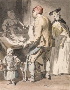 Fishmonger-P.sandby-HandBound Historical Costume research, Examples of a working mans jacket in the eighteenth century, images of yellow sacs from the 1700s or 18thc, what working people wore, paul sandby's sketches, Hand made historical costumes, bepsoke period clothing, period drama costujmes, Poldark costumes, dressing like Banished, what the goergains wore, a study on english dress from the 1700s, custom made accurate historical costume,