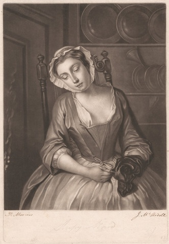 The Sleeping Maid - McArdell - 1756, who wore fully boned stays article, 18th century stay research, HandBound historical Costumes, made to measure stays, bespoke georgian technique made stays, 18thc corsetry, where can I get a pair of stays made?