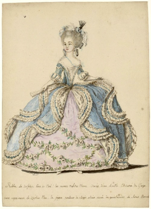1785 Les Arts Decoratif - HandBound Research, fashion plates of the 18th century, court wear for the late georgian period, fashions in high places, what people wore to Court, Antionette style clothing