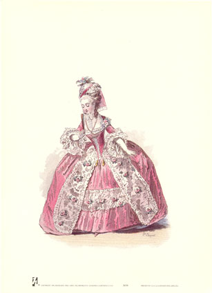 French costume plate - handbound costume research, carnival costume research, 18th century dresses, Georgian costume, pannier dresses for Court wear during the 18th century, elaborate rococo designed dresses
