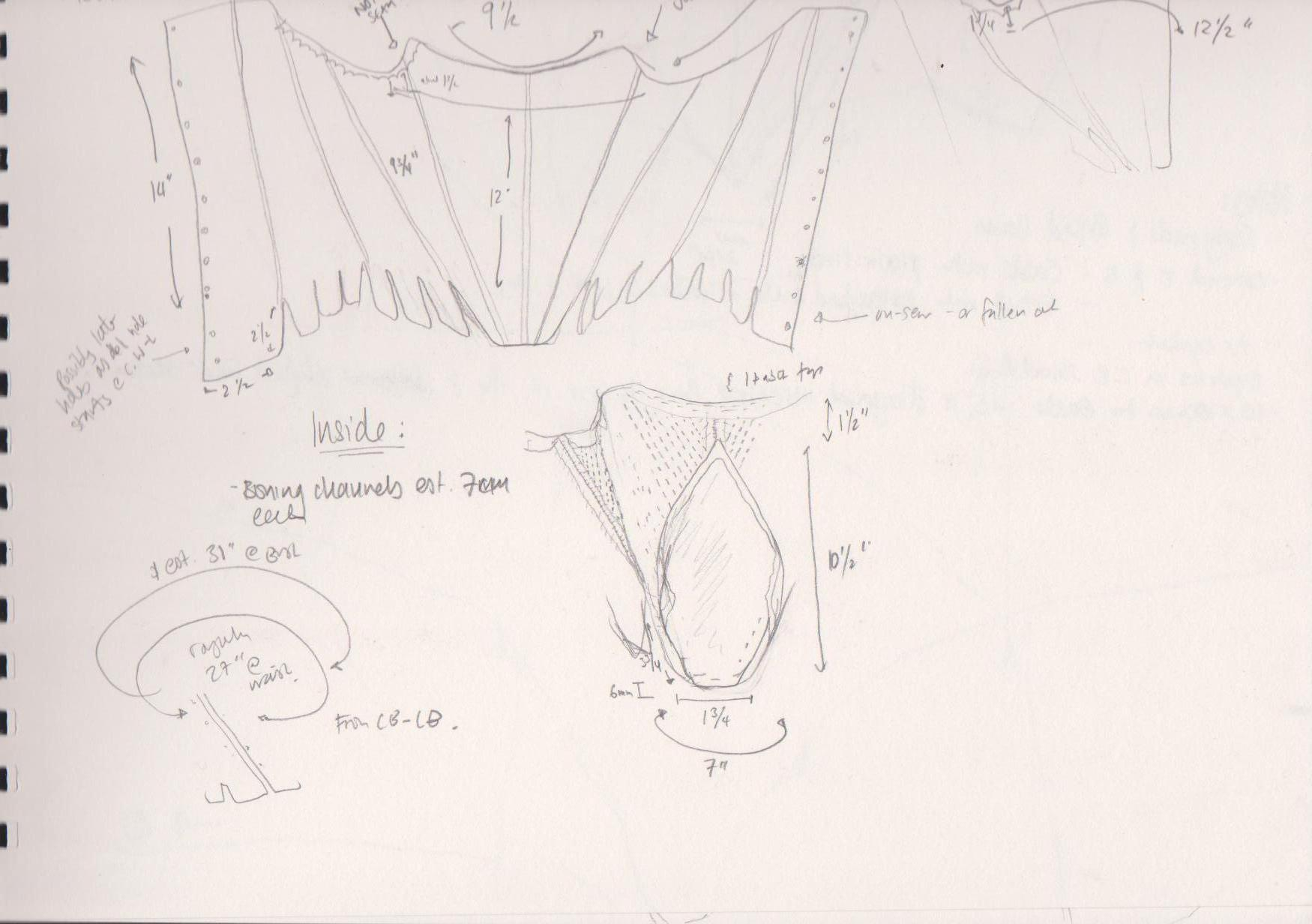 Notes from the museums sketches and drawings of costumes in the NT collections, 18th c corsets and stays research, replica stays and corsetry from the georgian period, handBound costume research into Stays, museum replicas 1700s, 18th c. underwear, historical costumes made to be based on museum items and replicas, theatre and film costumiers, made to measure historical costumes for theatre and re-enactment, bespoke 18thc garments, custom made historical costumes