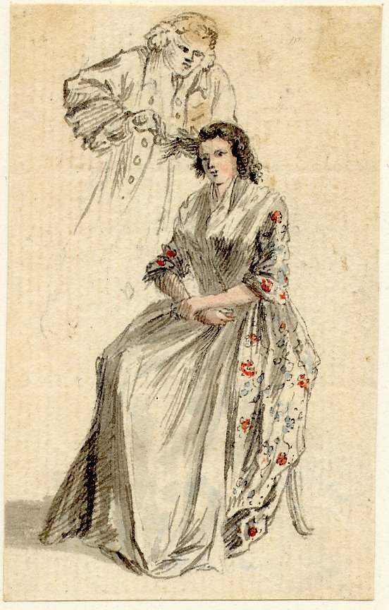 Hairdressing a lady in the mid 18th century by Paul Sandby, example of a lady in stays, HandBound made to measure Historical costume, hand made Historical and period clothing, re-enactment costume, theatre and film costumiers, custom made corsets, HandBound Corset and costume research