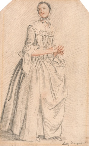 Lady Maynard by Paul Sandby - c.1757, ladies costume from the 18th century, Undress for wealthy women in the mid 1700s, example of a lady in stays, HandBound made to measure Historical costume, hand made Historical and period clothing, re-enactment costume, theatre and film costumiers, custom made corsets, HandBound Corset and costume research,  After Rebellion in Edinburgh series of Sketches by Paul Sandby, Royal Collection of Art, Yale collection, Historical costume research, Goergian dress and fashionable shapes