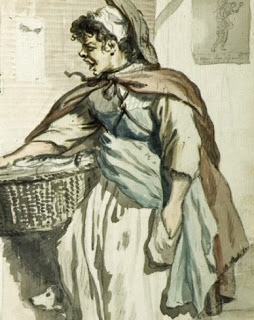 Paul Sandby Cries of London - 1759, Sketches of working women, what working women wore, Practical garments, georgian undergarments, Pocket - english c.1745 - V&A based replica costume - HandBound Bespoke Historical Costumes, embroidered Pockets - english- mid 1700's - HandBound Costumes, Undergarments of the 18th century, what georgians wore under their dresses, the history of women's pockets, replica costume and clothing made to measure and based on original garmetns in museums, practical clothing of the 18th century, reproduction costumes for re-enactments and theatre productions, accurate reproduced historical costumes,