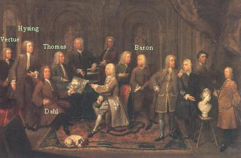 A Group of Vertuosi - 1735 by Gawen Hamilton, hogarth's group he didn't join, Matthew Robinson (Mrs MOntagu's Father), William Kent, John Wooton, Rysbrack, examples of Campaign Wigs, clothing study in 18thc england, early georgian mens fashion,