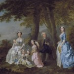 Samuel Richardson the novelist adn his second wife and family - francis hayman - 1740-41 - HandBuodn costume research, researching the history of dress, what people wore in the 1740's, handbound costume research, how was the handkerchief or neck cloth worn, dress like a georgian, replica hand made historical costume, bespoke and museum based period clothing