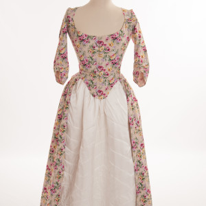Gallery of English Costume, 1770s - 80s style of dresses, Janet Arnold costumes, replica historical costumes by HandBound, polonaise dresses from the 18thc, where can I get a period dress made up, replica costume maker , corsetier specialising in 18thc stays, HandBound Historical Costumes