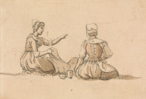 paul sandby drawings, 18th c examples of how to wear stays,  research into georgian costume, living history replicas, how were stays laced up,