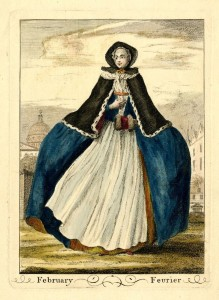 The Months images by J.June - February - 1749, Mid 18th c fashion research by HandBound Historical Costumes, what did the georgians wear, images of wide hooped petticoats, winter colours in georgian fashion
