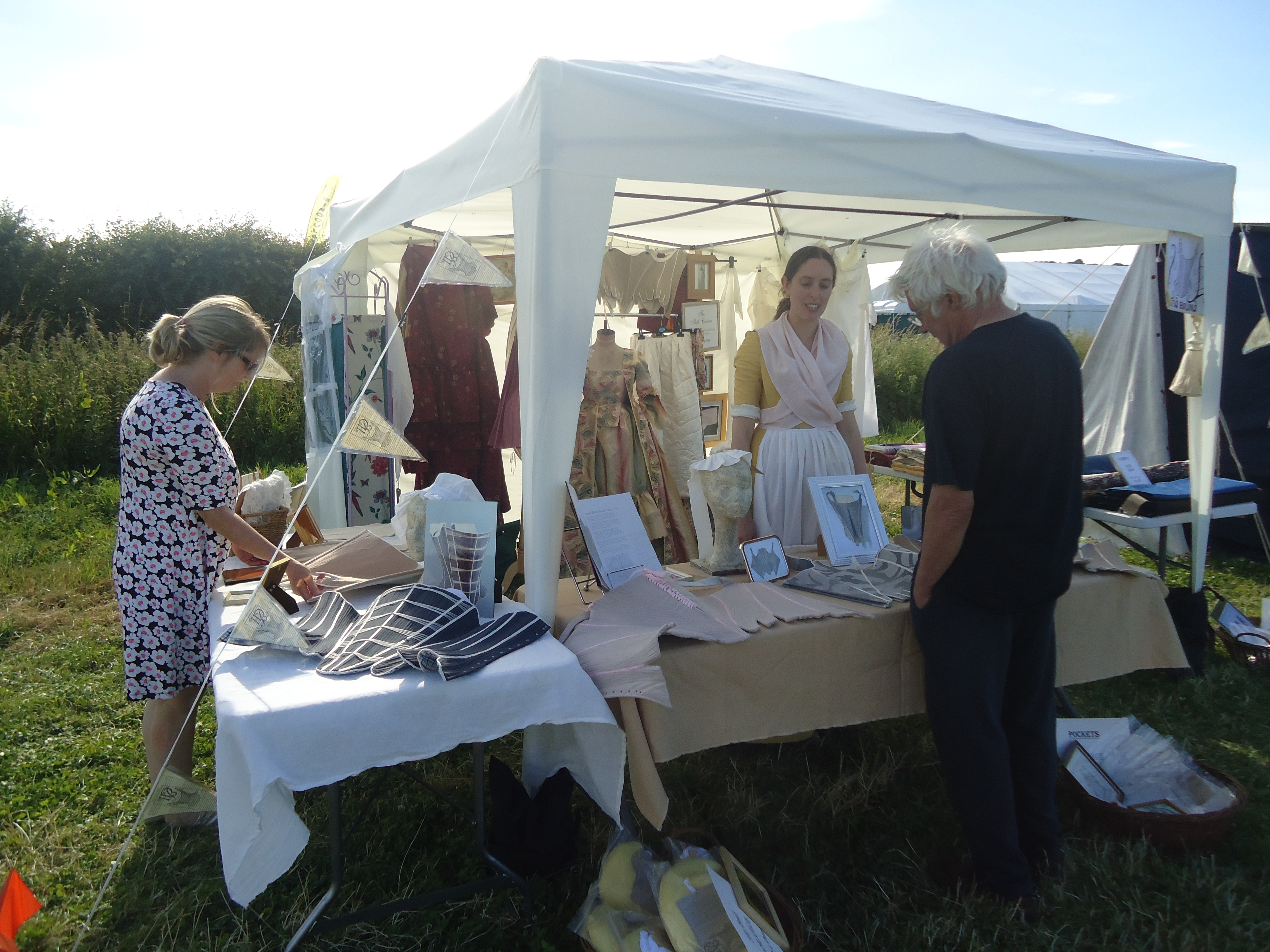 handbound costumes at chalke valley history festival, CVHF Georgian exhibition,  what the georgians wore, 18th c stays display - daily mail history festival