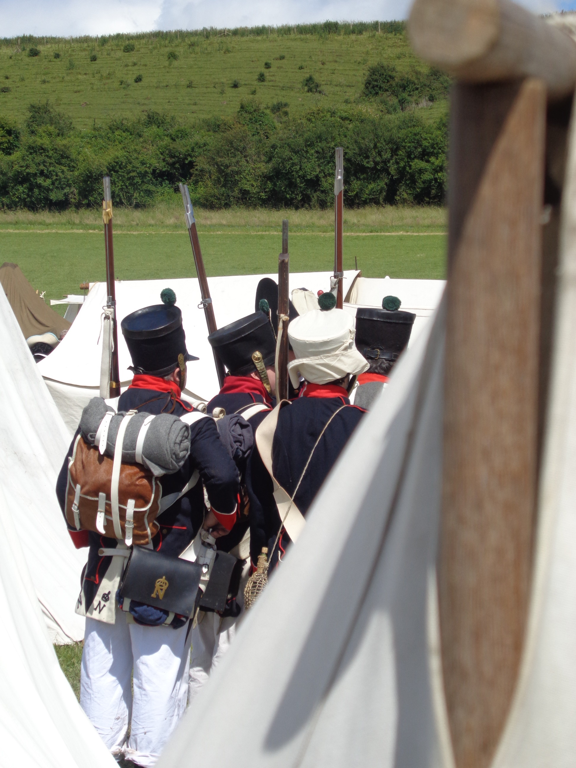Georgian Troops at BBC festival, handbound historical costumes, replica 18th c costumes