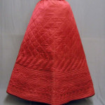 original victorian quilted petticoat, replicated quilted petticoat, red cherry replicated petticoat, victorian historical costume