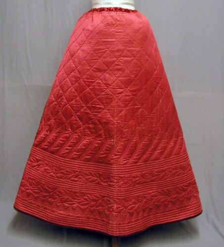 original victorian quilted petticoat, replicated quilted petticoat, red cherry replicated petticoat, victorian historical costume