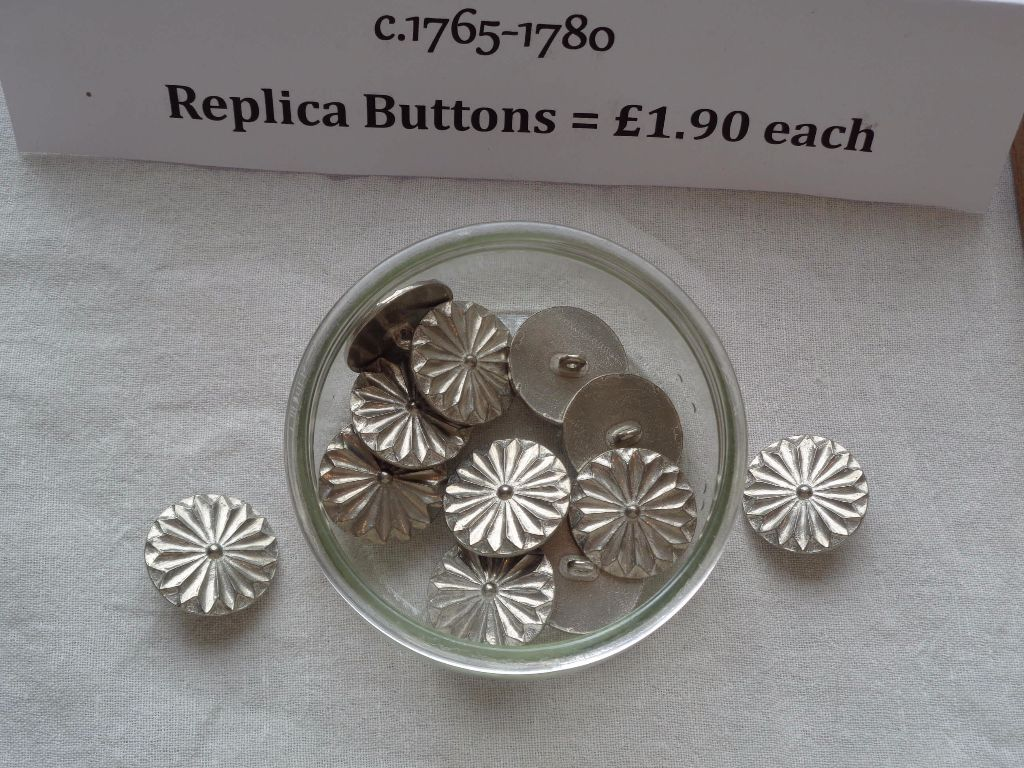 replica period buttons for sale, georgian cut metal buttons, replica period costumer maker and supplies