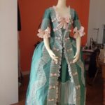 teal silk robe a la francais, teal silk gown, where can I see georgian costume making - the costume rooms bude, handbound costumes