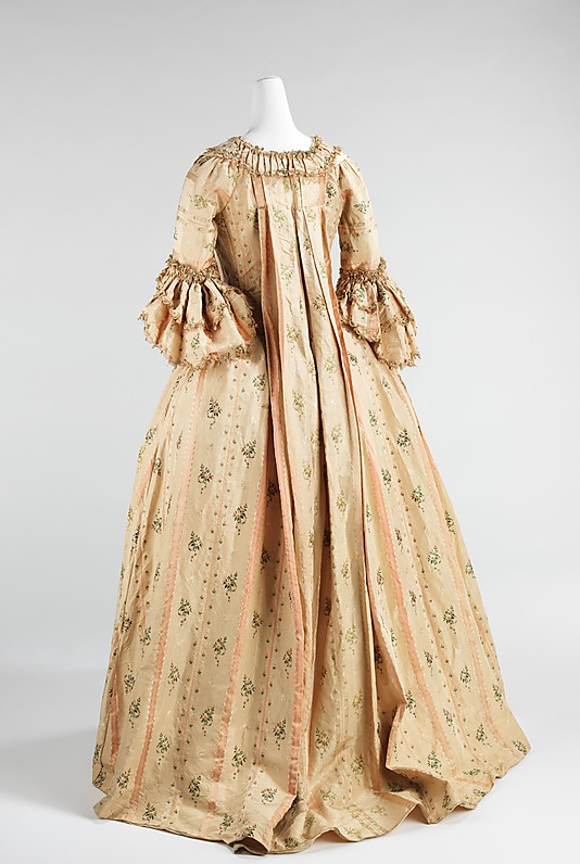 MET costume collection online images - 1760s- 1770s robe a la Francais - HandBound Costumes