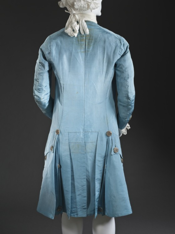 bakc view of a c.1765 blue silk suit - lacma collections